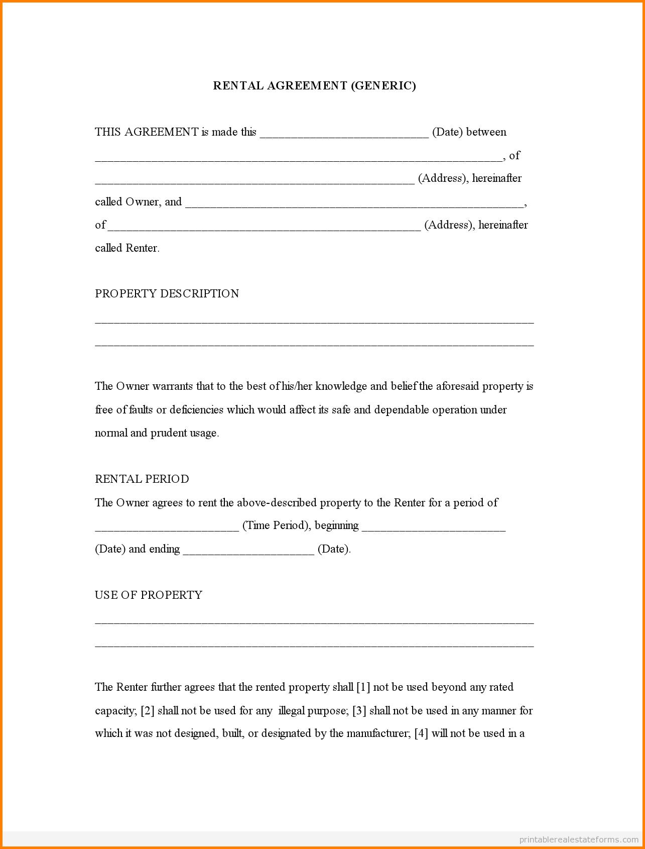 006 Template Ideas Printable Rental Agreement Free Lease Form 142669 - Free Printable Rental Agreement