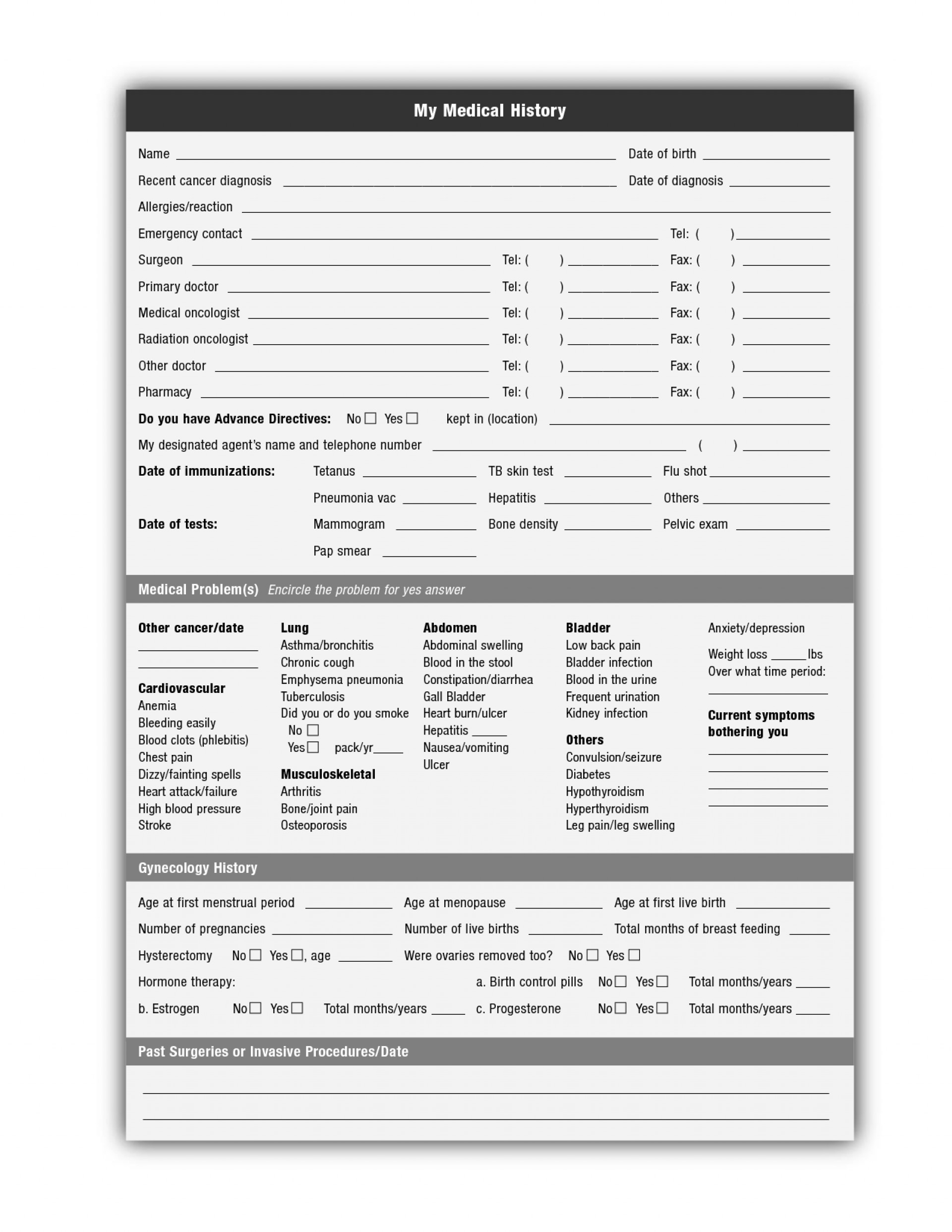 018 Template Ideas Free Printable Medical History Forms 142171 - Free Printable Medical History Forms