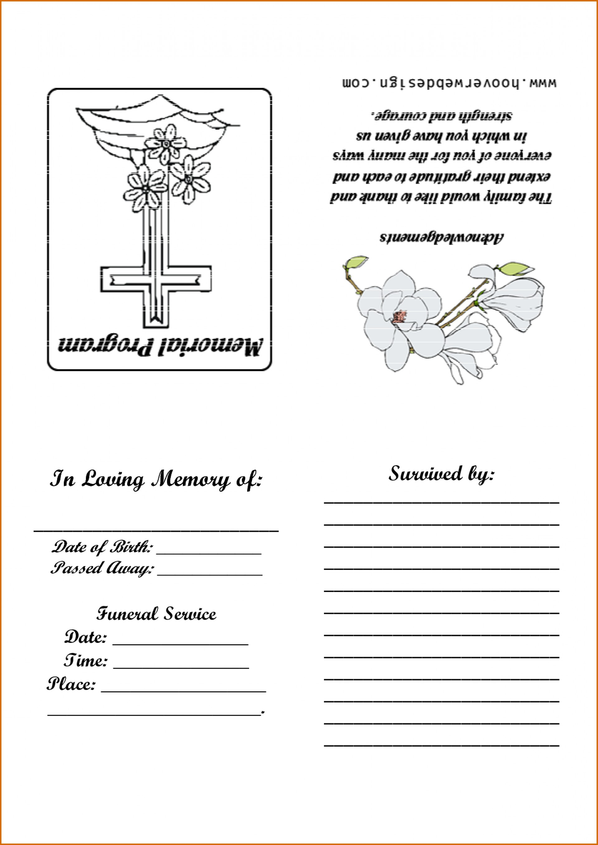 021 Free Printable Funeral Program Template Word Unforgettable Ideas - Free Printable Funeral Program Template