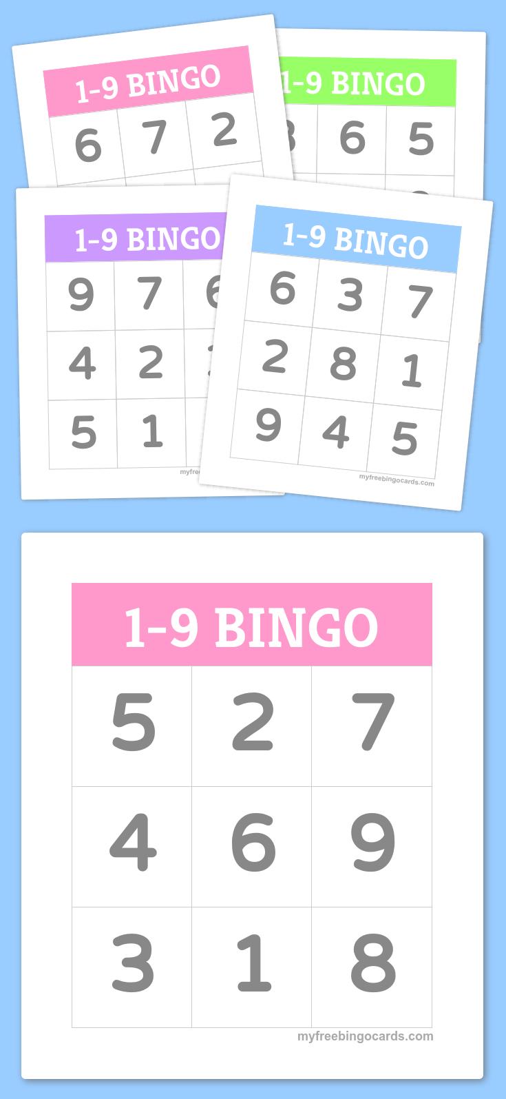 1-9 Bingo | Numbers | Bingo For Kids, Bingo, Free Printable Bingo Cards - Free Printable Bingo Cards Random Numbers
