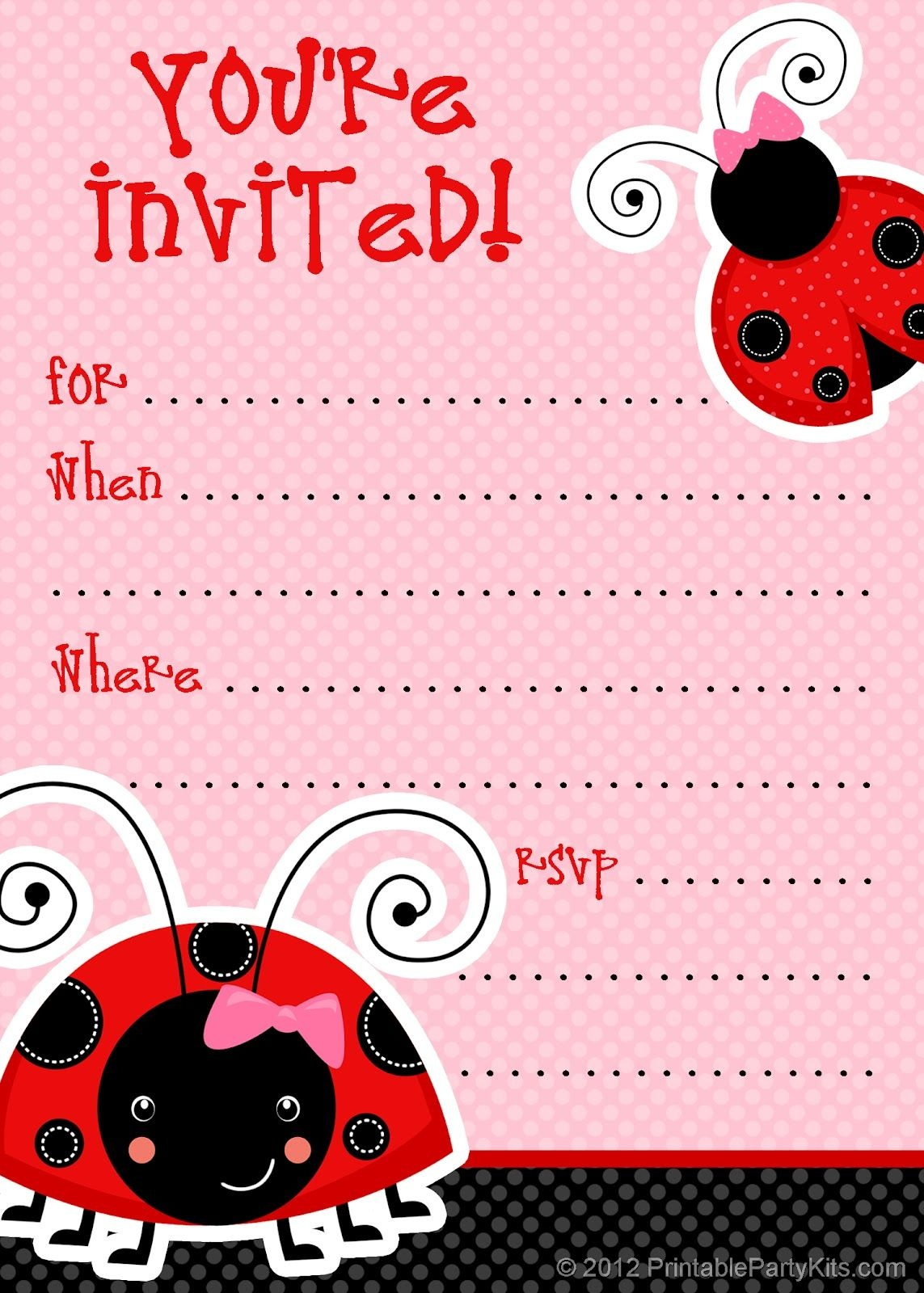 1) Free Printable Ladybug Invitation Blank Template. 2) Beautiful - Free Printable Ladybug Invitations