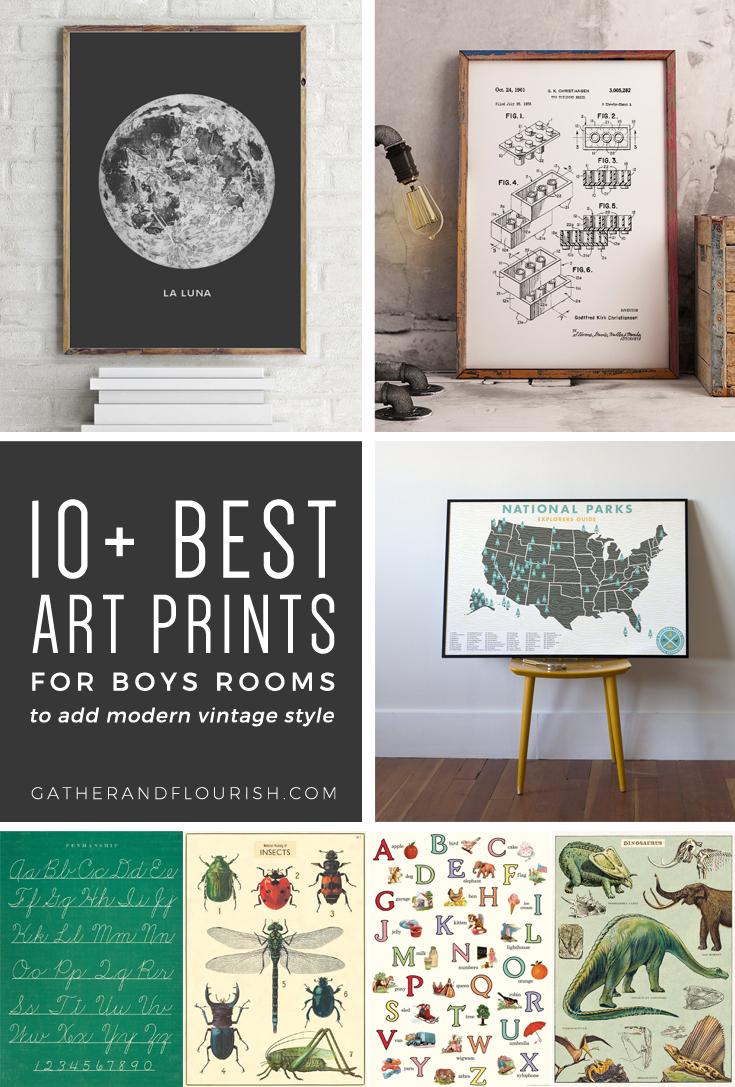 10+ Art Prints For Boys Rooms (Plus Free Printable!)   Orc Week 4 - Free Printable Vintage Art