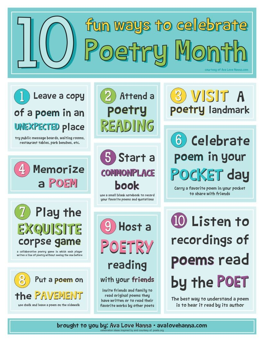 10 Fun Ideas To Celebrate Poetry Month And A Printable Poster - Free Printable Poetry Posters