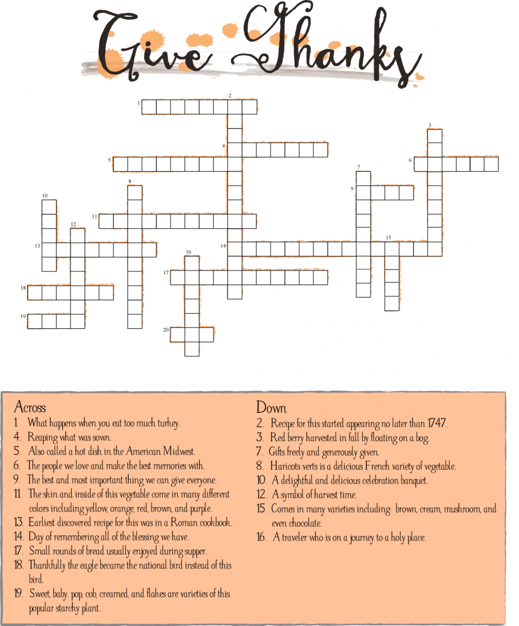 10 Superfun Thanksgiving Crossword Puzzles | Kittybabylove - Thanksgiving Crossword Puzzles Printable Free