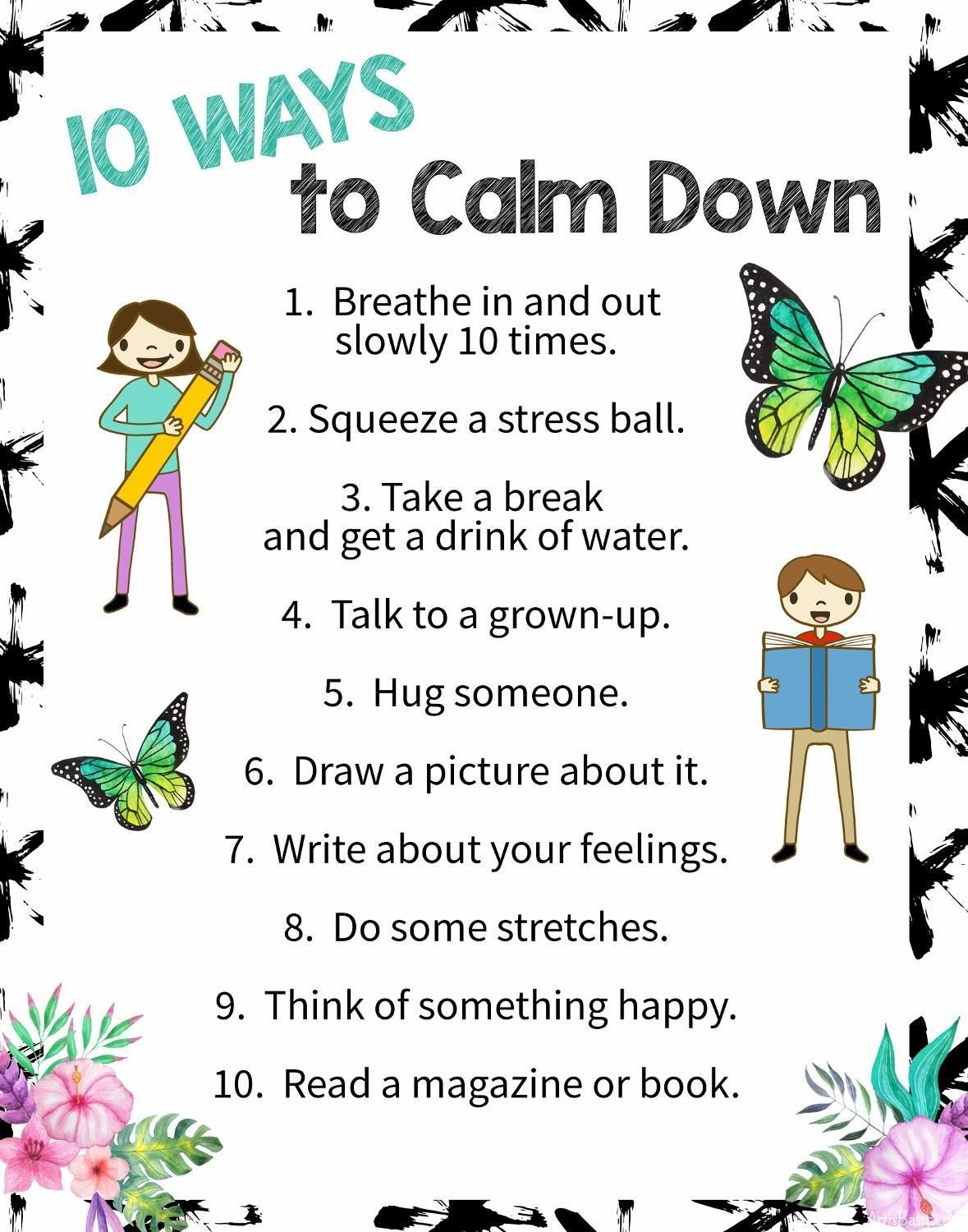 10 Ways To Calm Down: A Free Printable Poster | Art | Free Poster - Free Printable Educational Posters