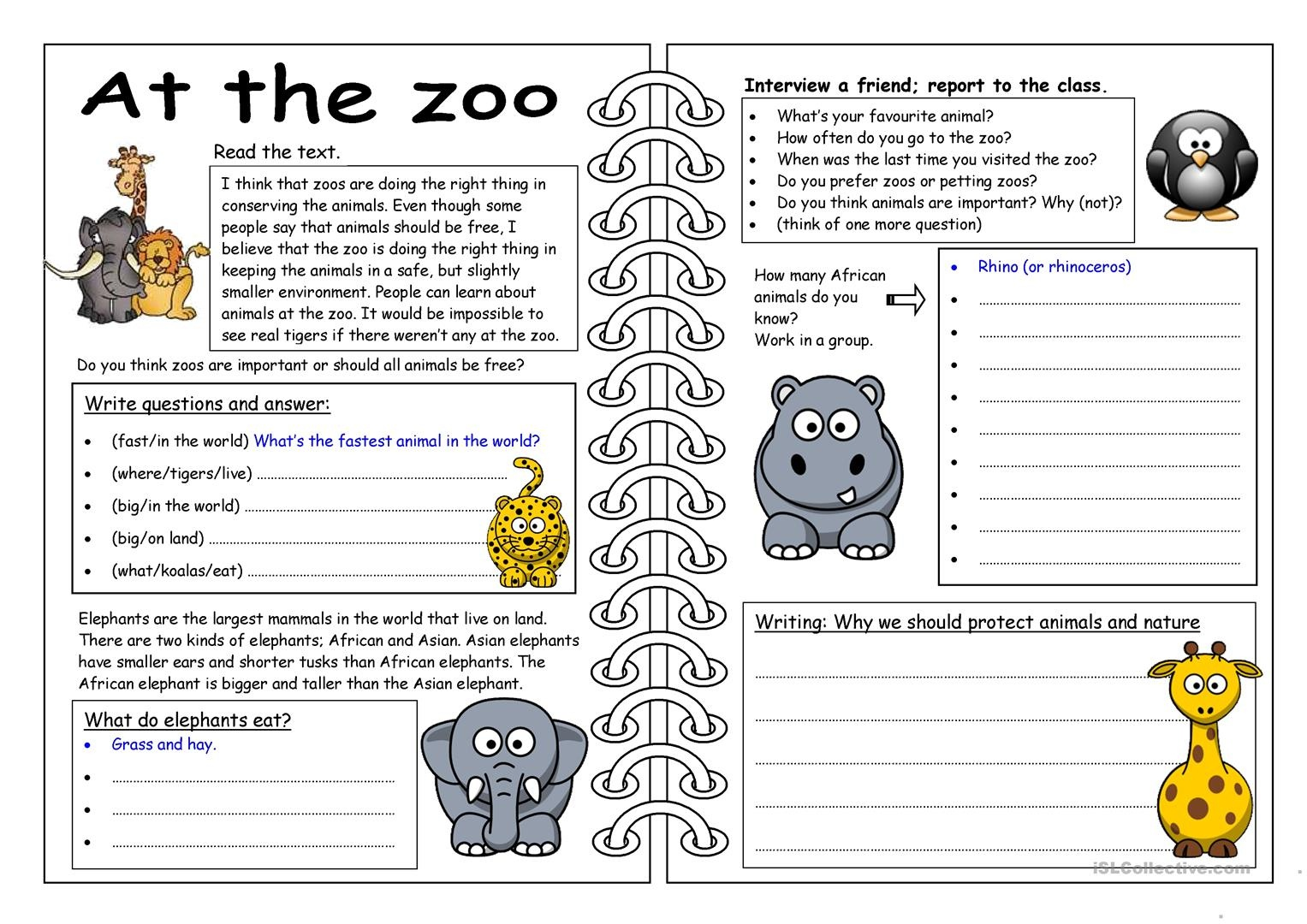 101 Free Esl Zoo Worksheets - Free Printable Zoo Worksheets