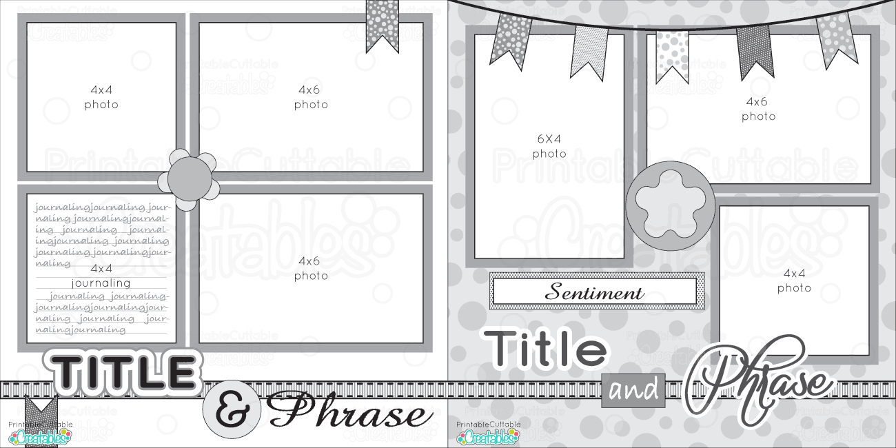 12X12 Two Page Free Printable Scrapbook Layout | Scrapbook Sketches - Free Printable Scrapbook Pages Online