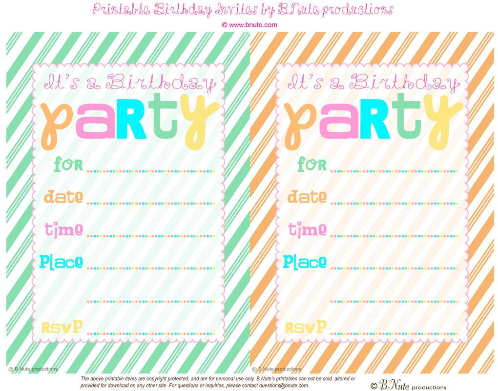 13+ Free Printable Birthday Party Invites | Chooseconnor - Free Printable Event Invitations