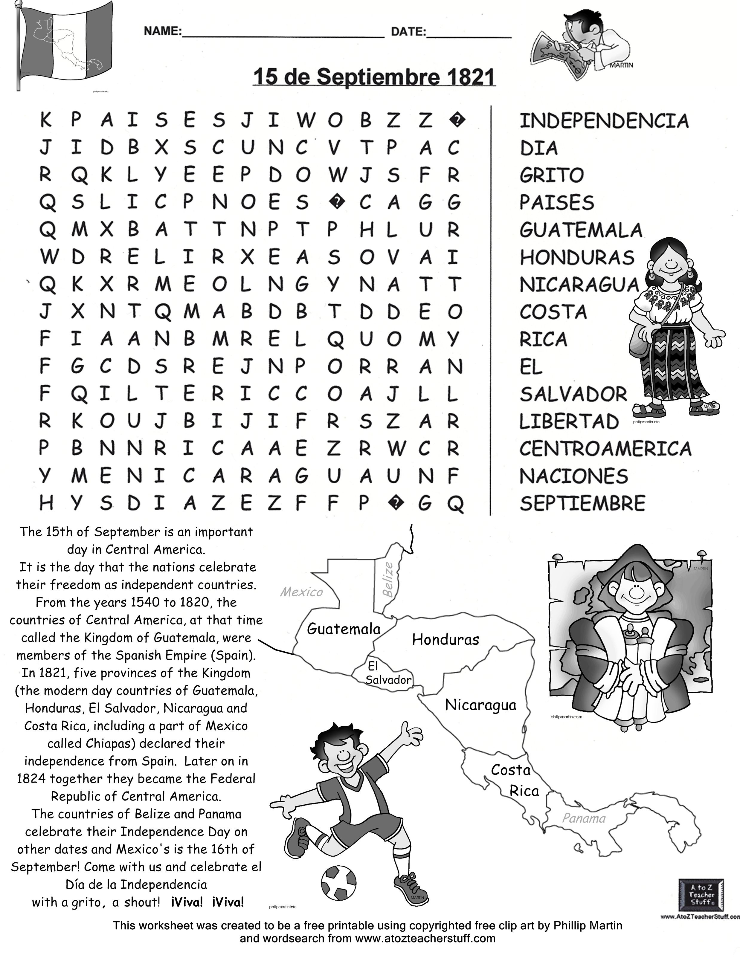 15 De Septiembre Búsqueda-Free Word Search | Education | Mexican - Free Printable Black History Month Word Search