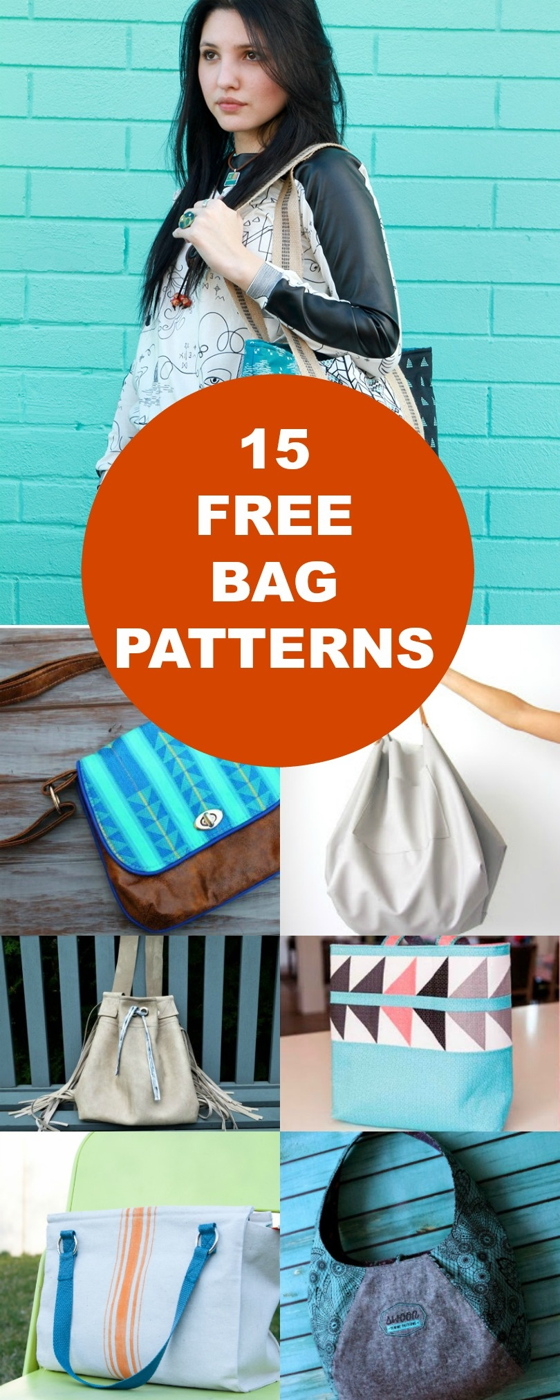 15 Free Bags Patterns | On The Cutting Floor: Printable Pdf Sewing - Handbag Patterns Free Printable