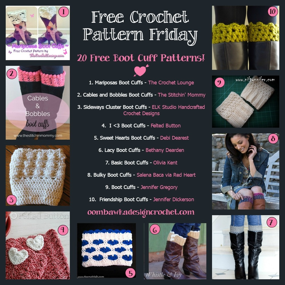 20 Free Boot Cuff Crochet Patterns! • Oombawka Design Crochet - Free Printable Crochet Patterns For Boot Cuffs