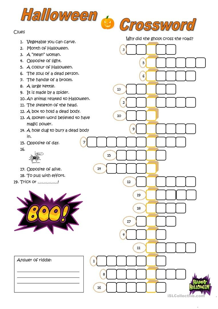 23 Free Esl Halloween Crossword Worksheets - Halloween Crossword Printable Free