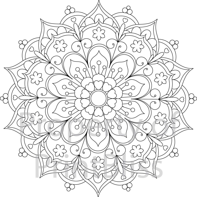 25. Flower Mandala Printable Coloring Page.printbliss On Etsy - Mandala Coloring Free Printable