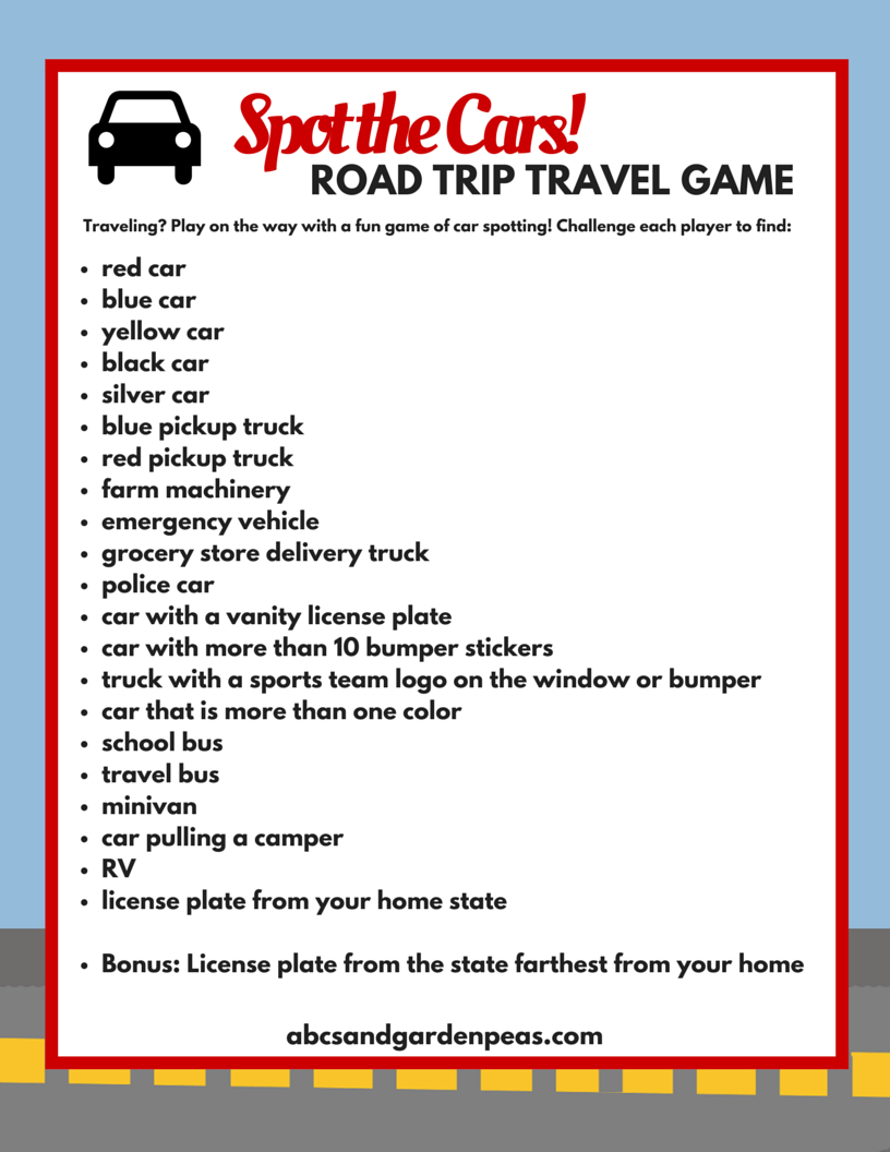 25+ Free Road Trip Printables For A Truly Fun Family Car Trip In - Free Printable Car Ride Games