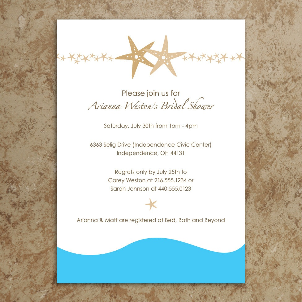 27 Images Of Beach Theme Wedding Invitation Template | Nategray - Free Printable Beach Theme Bridal Shower Invitations