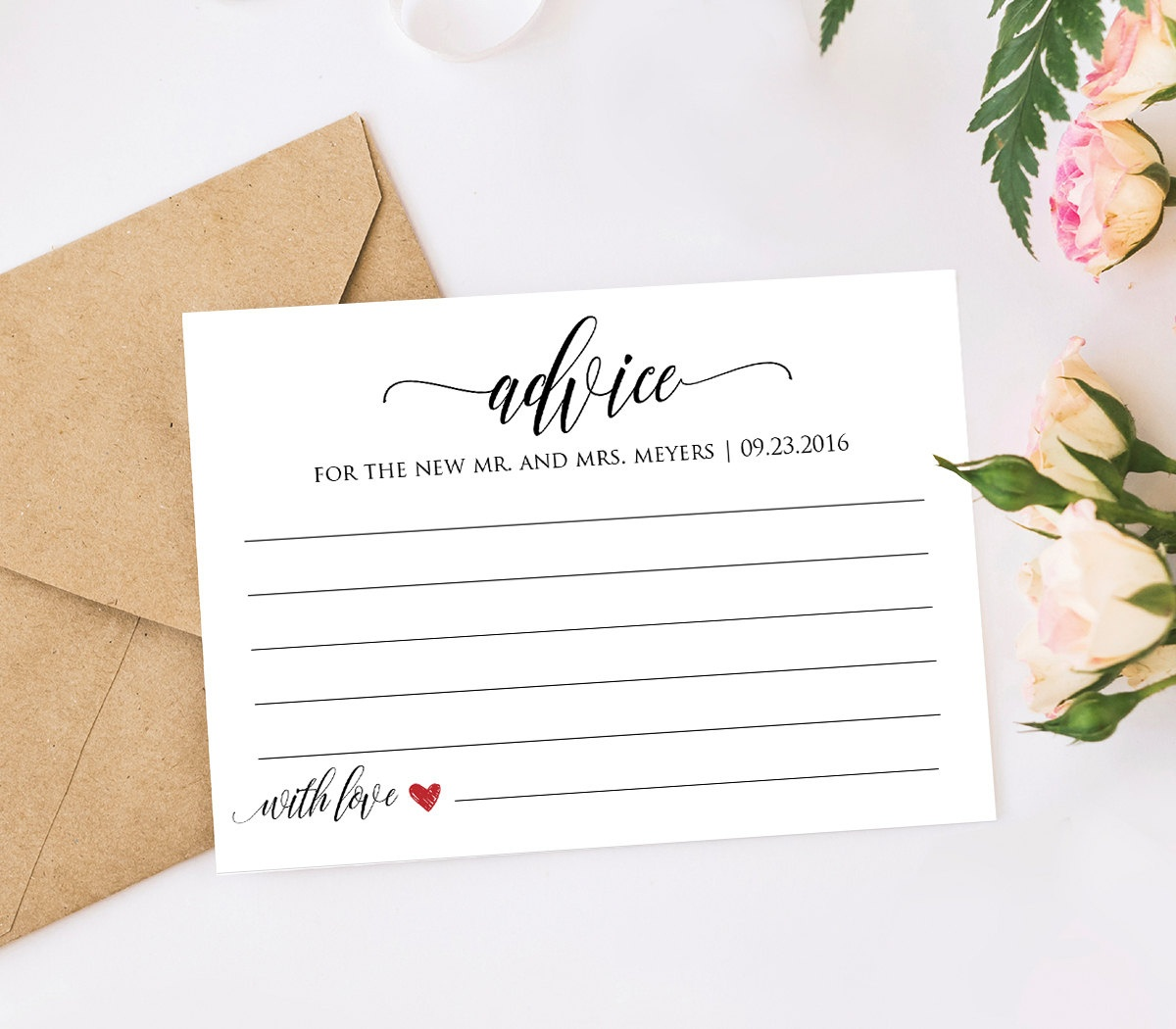29 Images Of Wedding Advice Template | Dinapix - Free Printable Bridal Shower Advice Cards