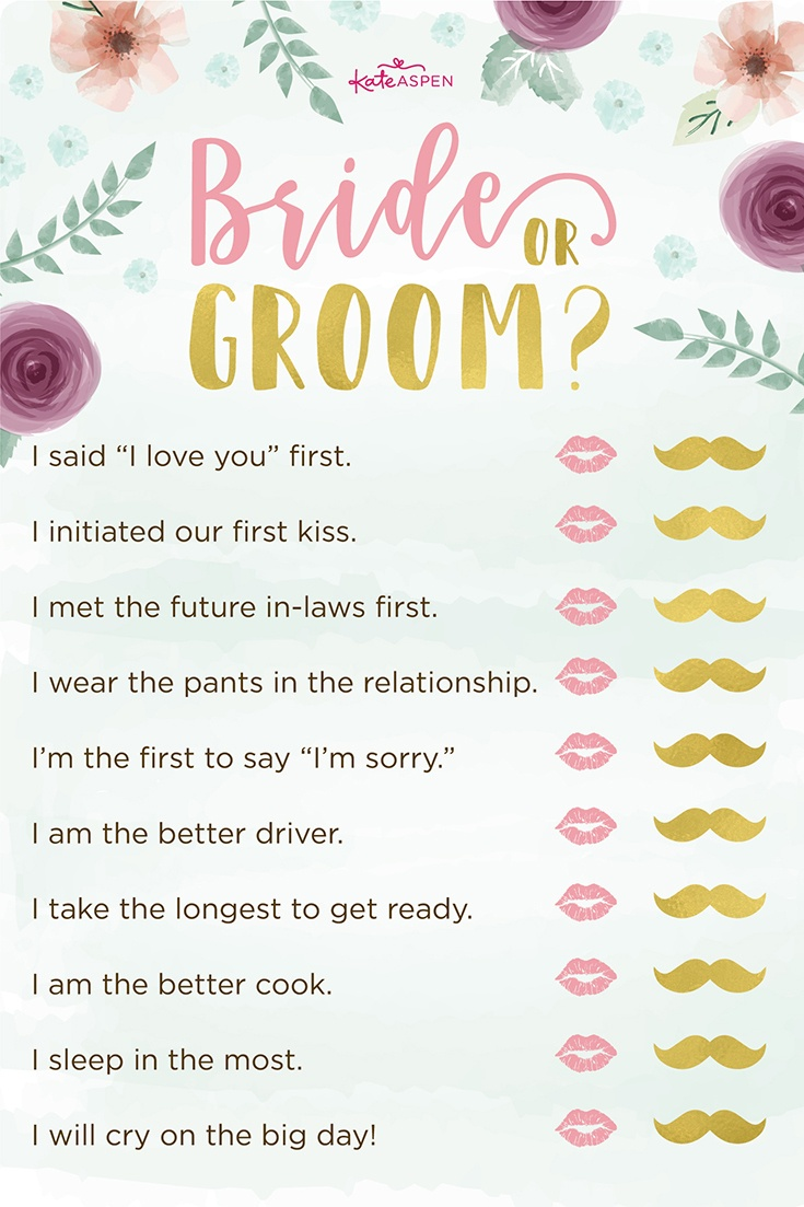 3 Bridal Shower Games + Free Printables | Kate Aspen Blog - Free Printable Bridal Shower Games