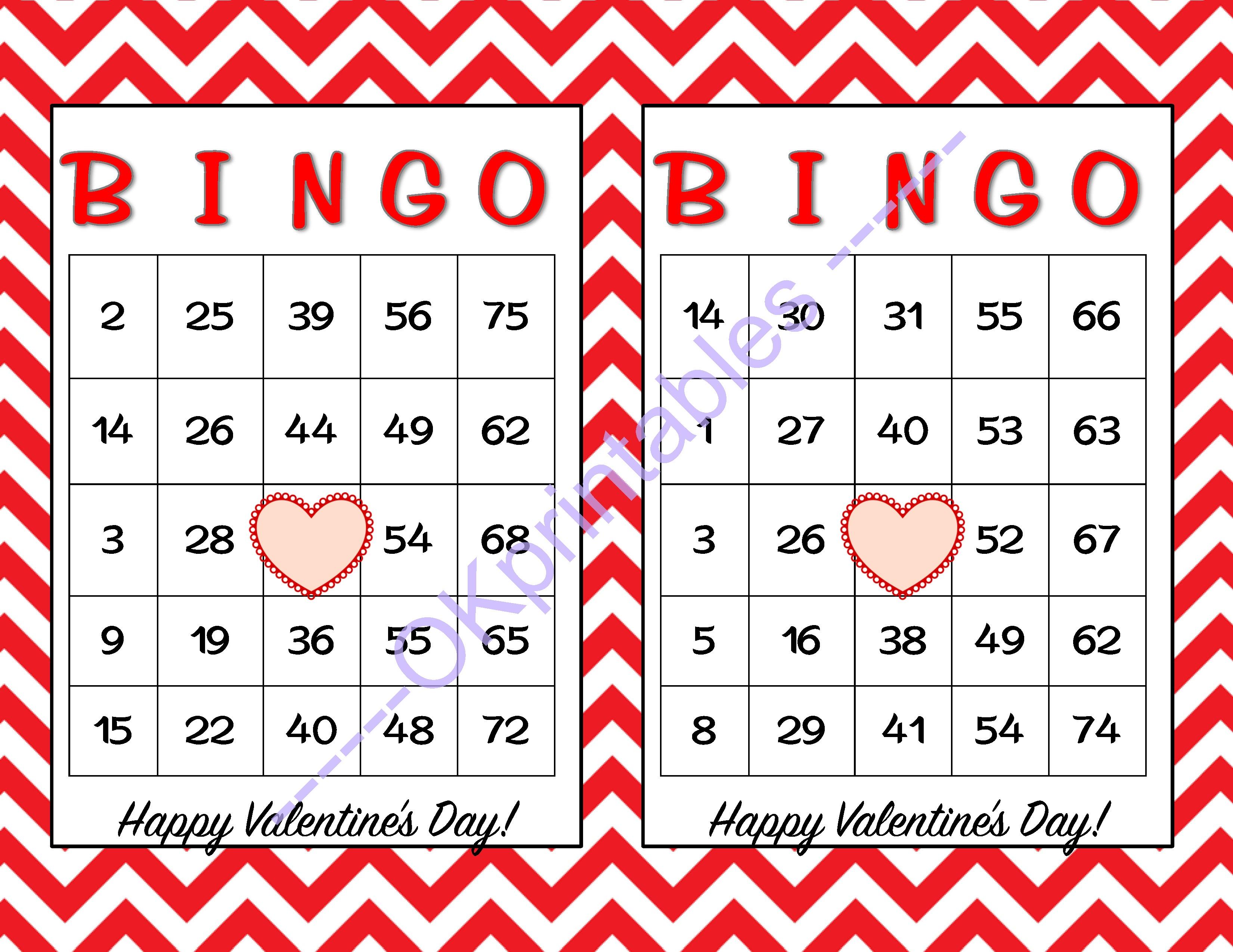 30 Happy Valentines Day Bingo Cards -Okprintables On Zibbet - Free - Free Printable Bingo Cards Random Numbers