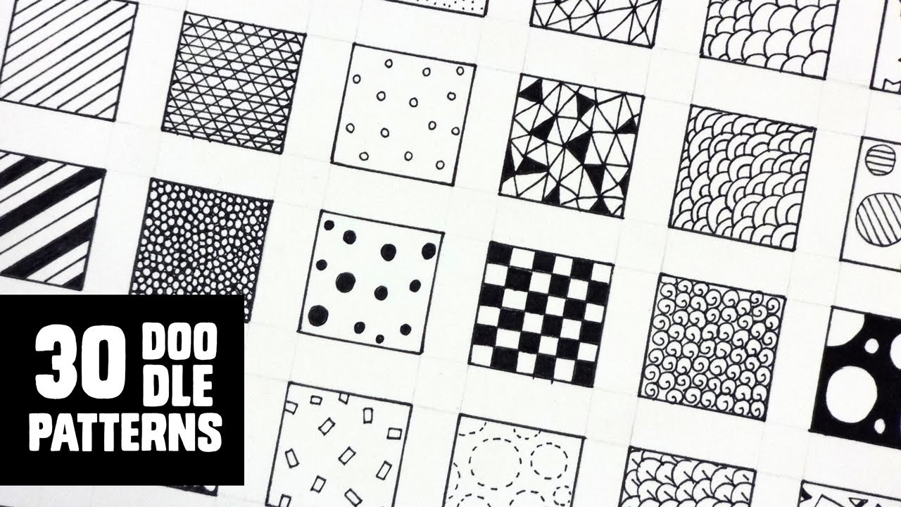 30 Patterns For Doodling / Filling Gaps - Youtube - Free Printable Doodle Patterns