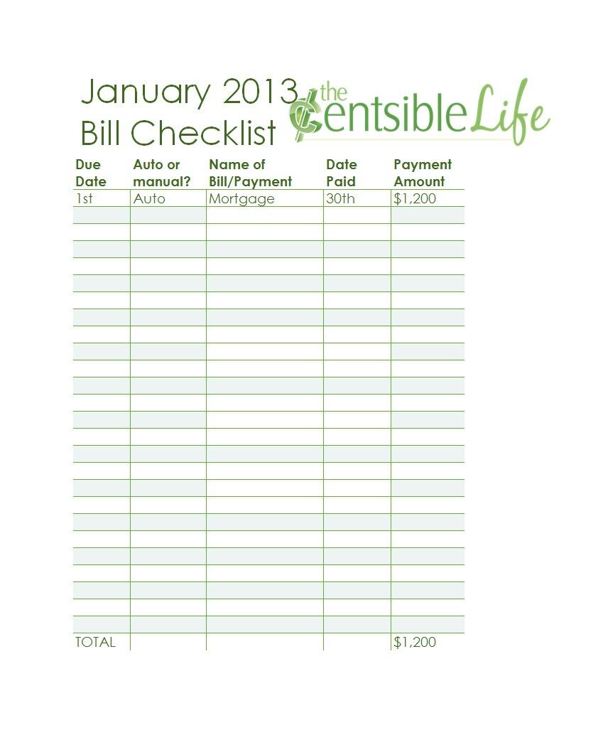 32 Free Bill Pay Checklists & Bill Calendars (Pdf, Word & Excel) - Free Printable Monthly Bill Checklist
