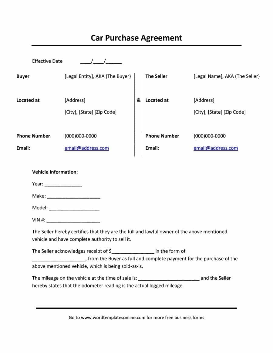 42 Printable Vehicle Purchase Agreement Templates ᐅ Template Lab - Free Printable Vehicle Lease Agreement