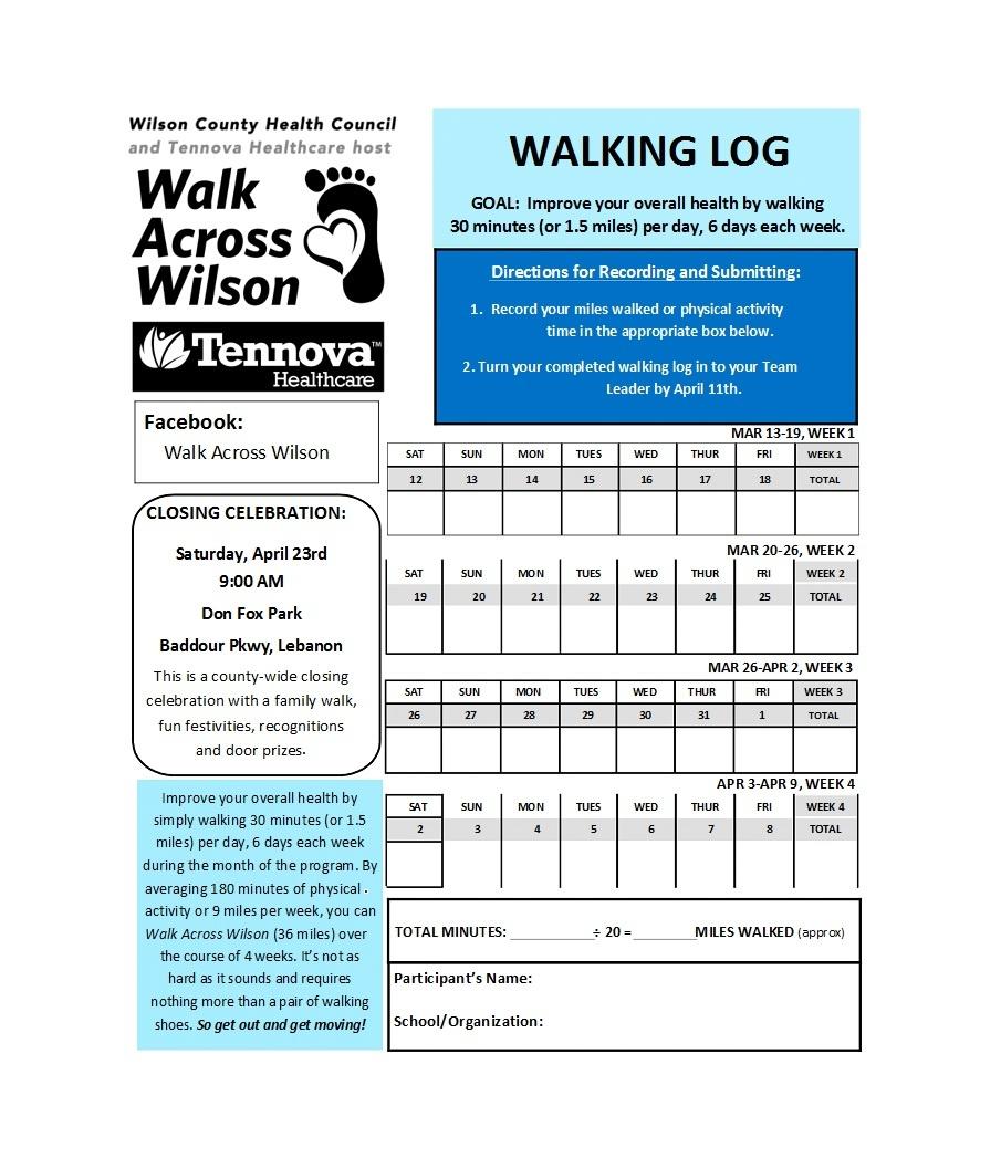 49 Handy Running Log Templates (+Walking Charts) ᐅ Template Lab - Free Printable Walking Log