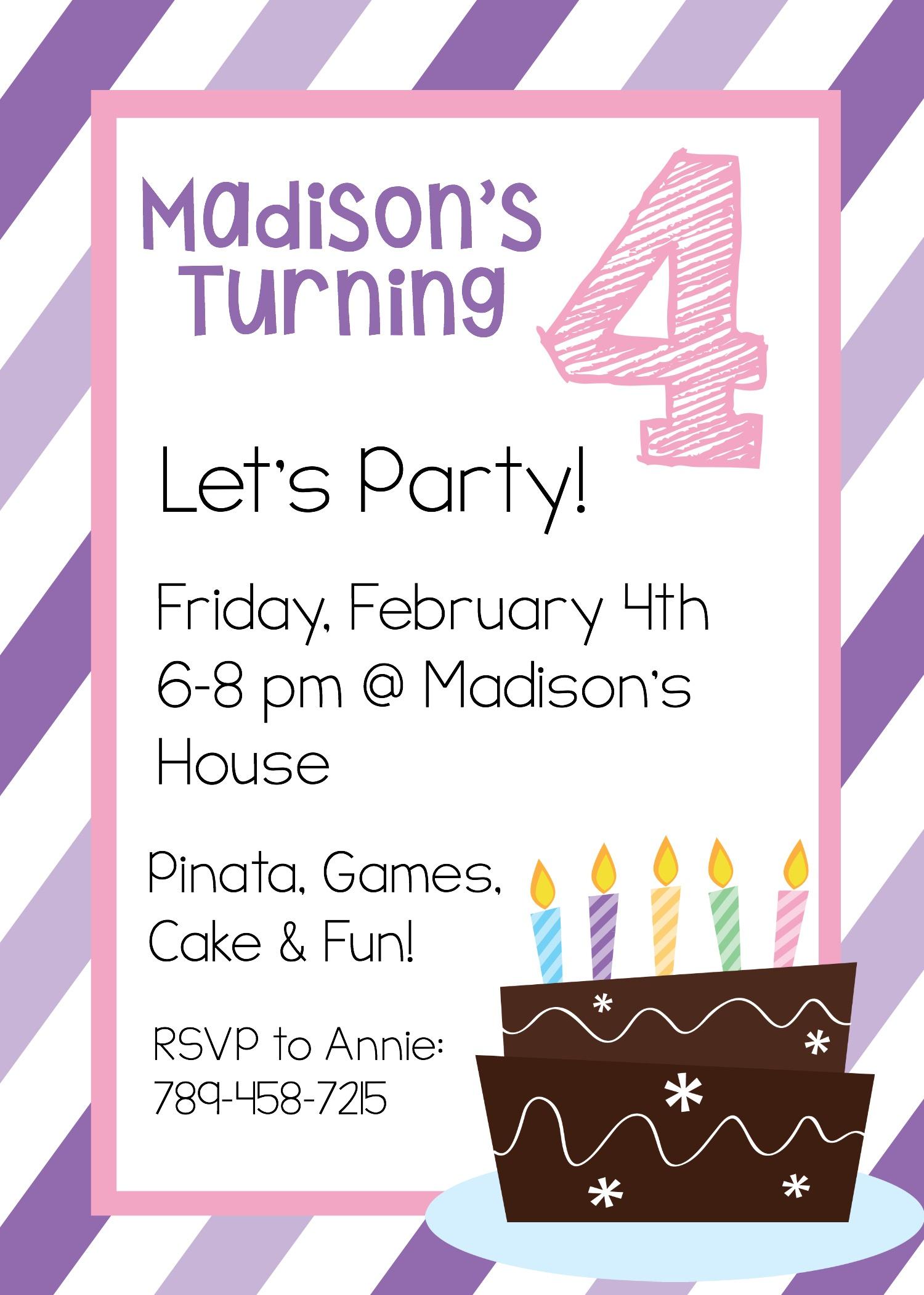 4Th Birthday Invitation Templates • Invitation Template Ideas - Free Printable Birthday Invitation Templates