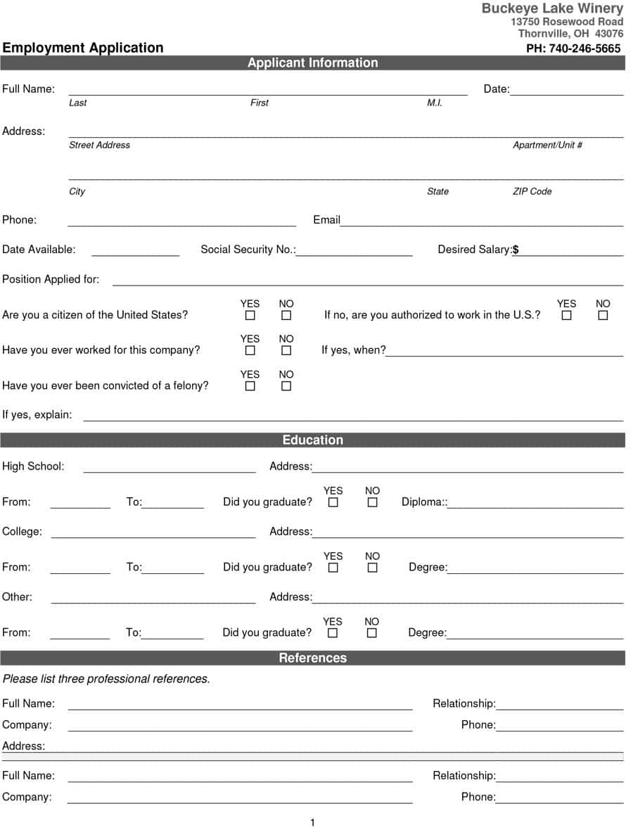 50 Free Employment / Job Application Form Templates [Printable] ᐅ - Free Printable Application For Employment Template
