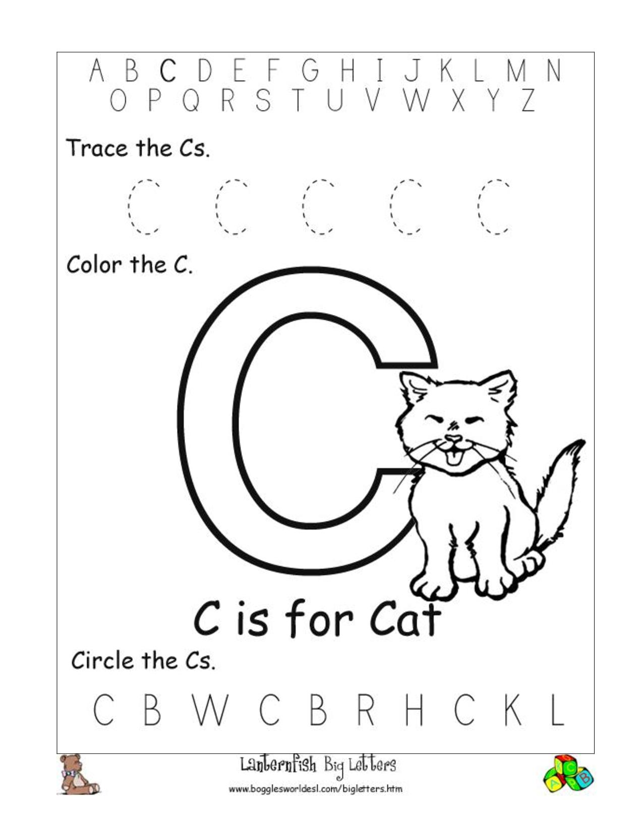 6 Best Images Of Free Printable Preschool Worksheets Letter C   Day - Free Printable Preschool Worksheets Letter C