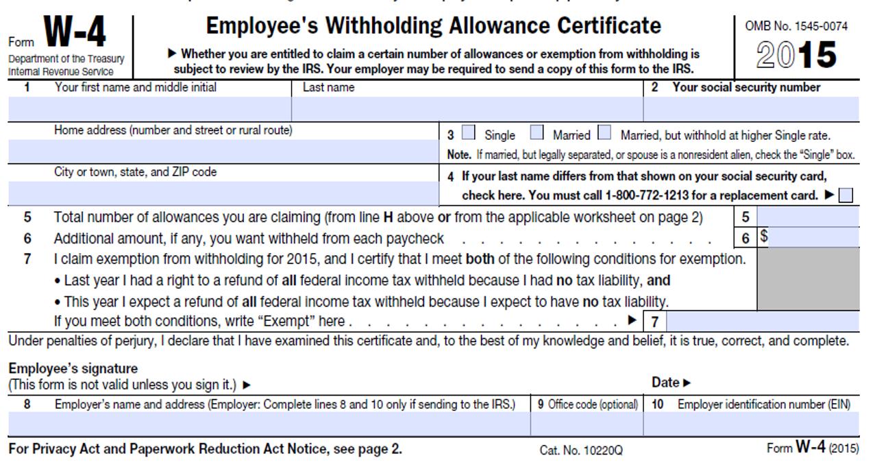 6 Best Photos Of W-4 Tax Form 2015 - 2014 W 4 Tax Form, Irs 2015 W 4 - Free Printable W 4 Form