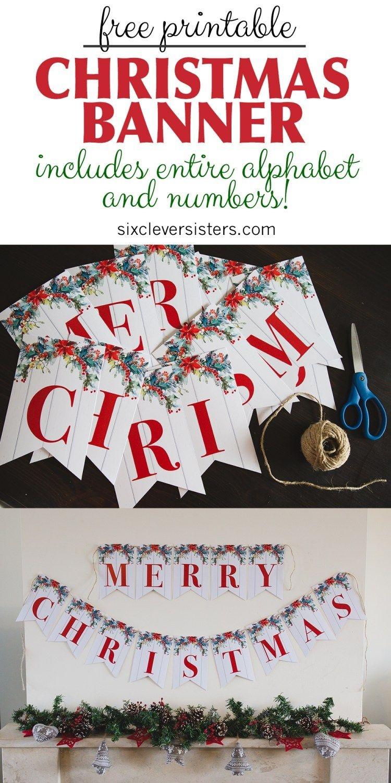 6 Free Printable Christmas Signs | Christmas | Merry Christmas - Free Printable Christmas Banner