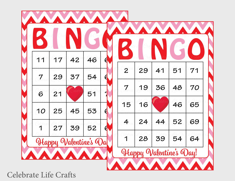 60 Valentines Bingo Cards Printable Valentine Bingo Cards | Etsy - Free Printable Bingo Cards Random Numbers