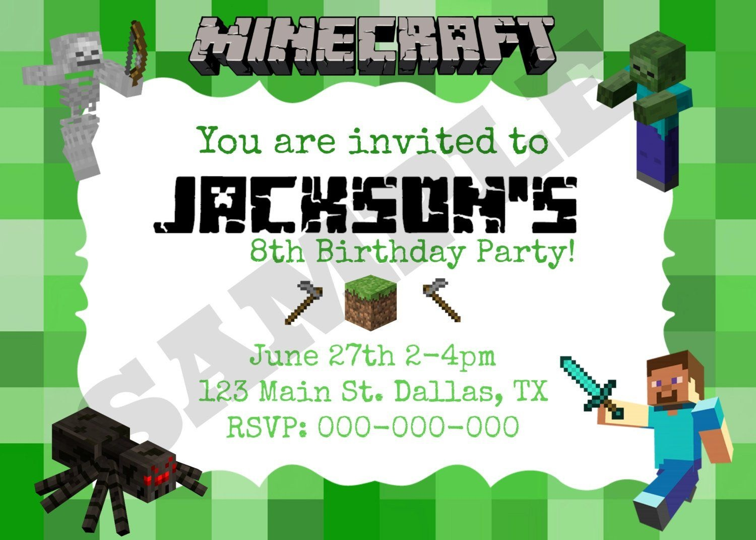 8 Best Images Of Minecraft Party Invitation Printable Template - Free Printable Minecraft Birthday Party Invitations Templates
