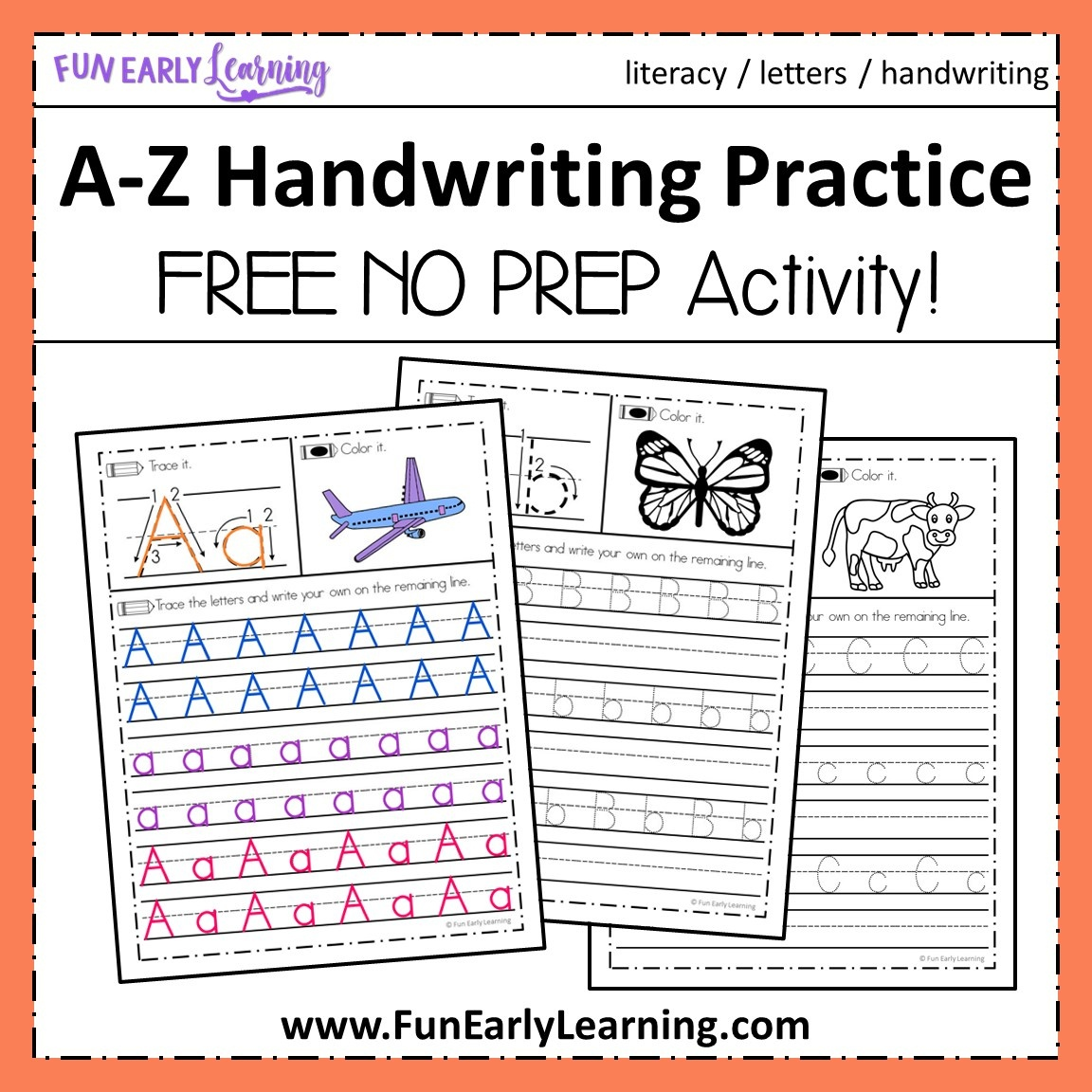 A-Z Handwriting Practice No Prep Worksheets For Learning Letters - Free Printable Handwriting Sheets For Kindergarten