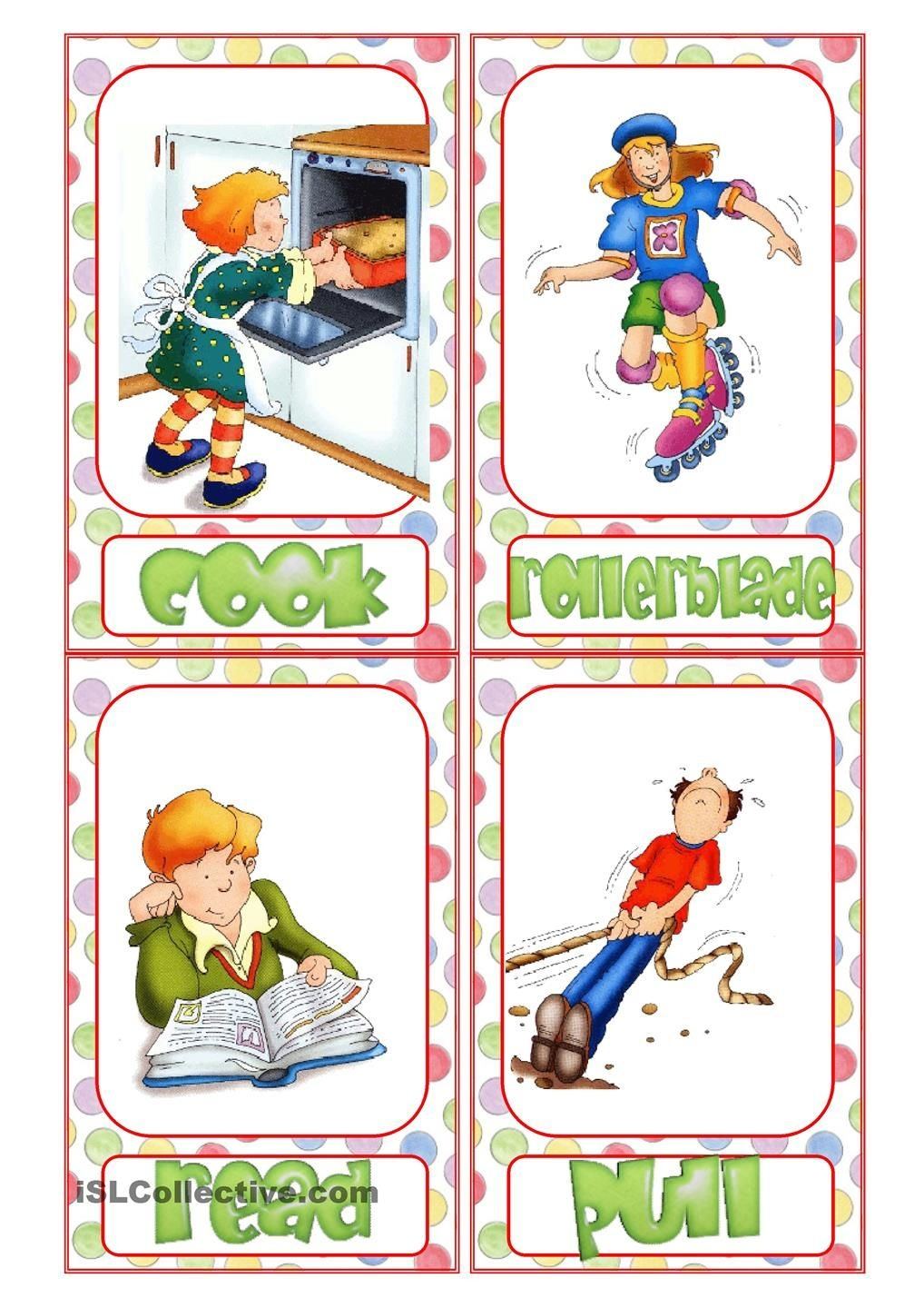 Action Verb Flashcards   Reading & Writing   Action Verbs, English - Free Printable Spanish Verb Flashcards