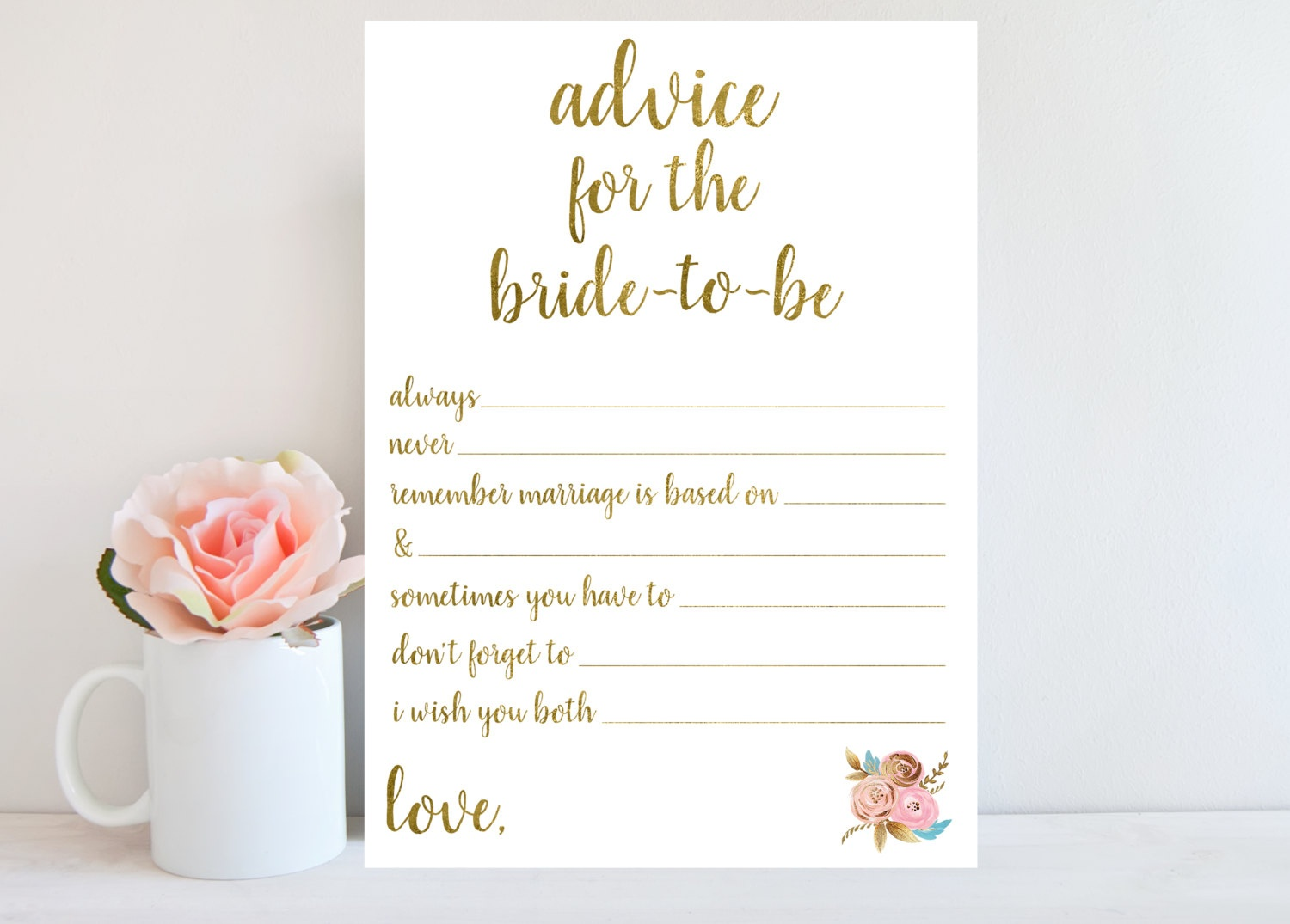 Advice For Bride-To-Be Bridal Shower Advice Cards Printable | Etsy - Free Printable Bridal Shower Advice Cards