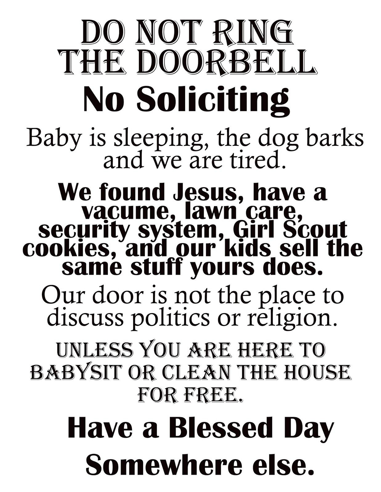 """Afloat In The Deep Blue: Printable """"no Soliciting"""" Sign. 