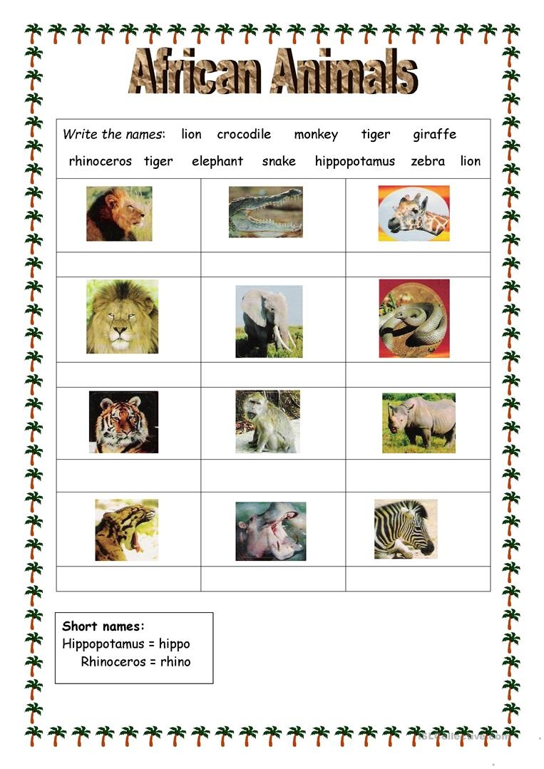 African Animals Worksheet - Free Esl Printable Worksheets Made - Free Printable Worksheets On Africa