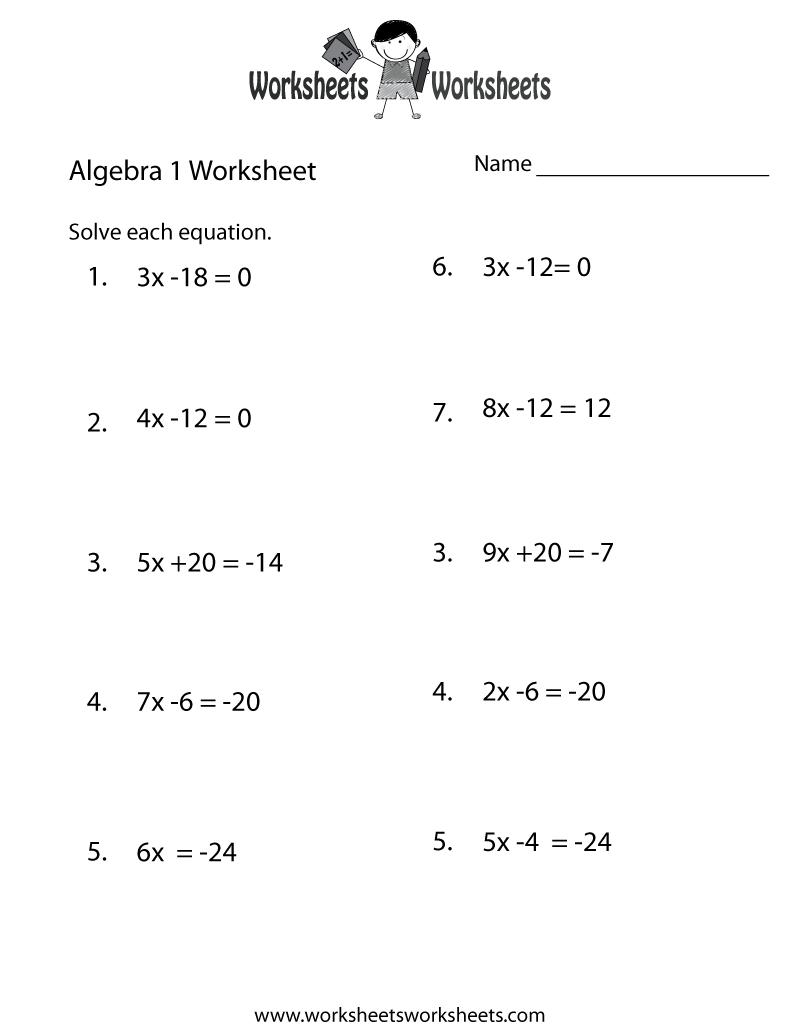 Algebra 1 Practice Worksheet Printable | Algebra Worksheets - Free Printable Algebra Worksheets Grade 6