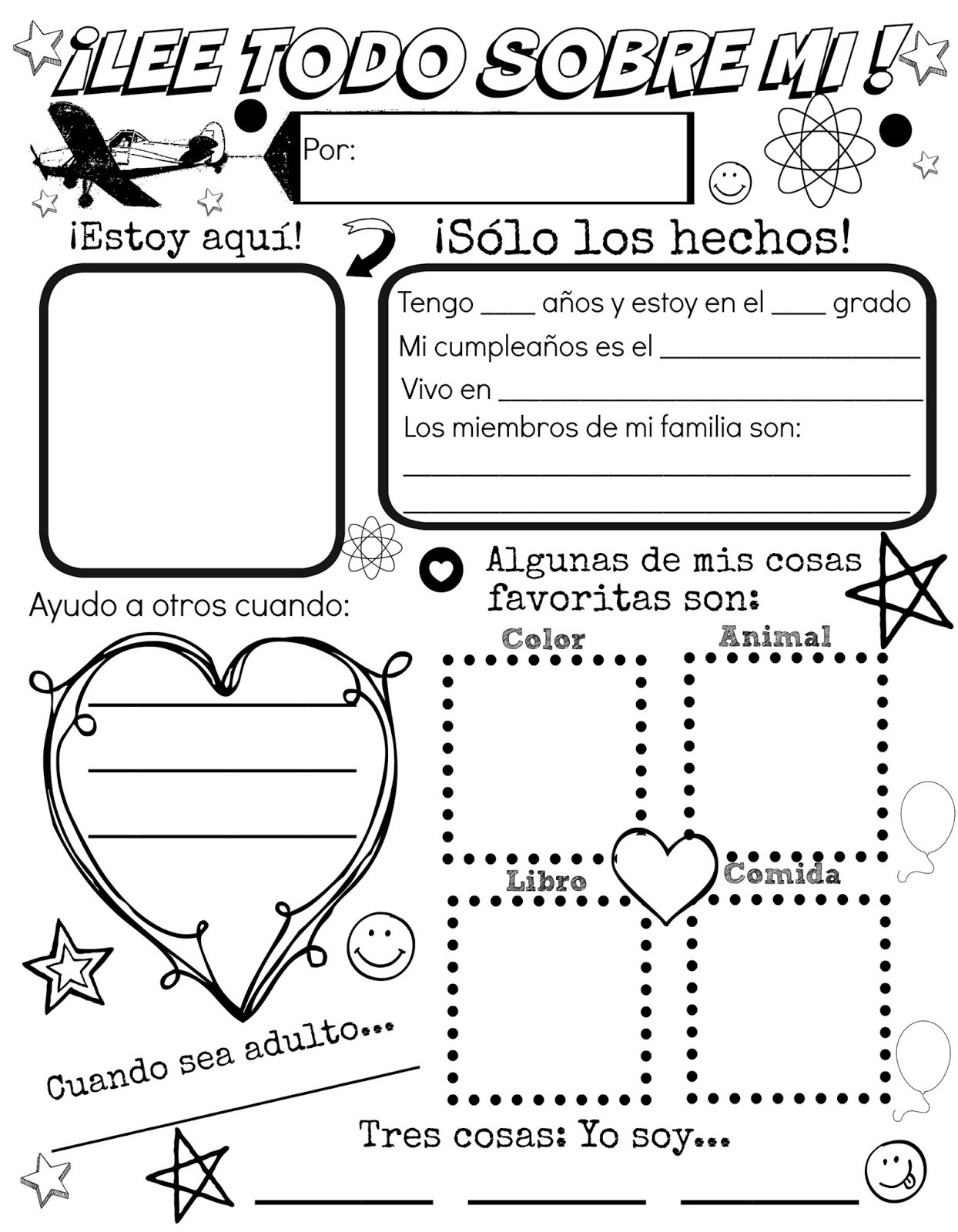 All About Me {Free Spanish Printable} | Discovering The World - Free Printable All About Me Worksheet