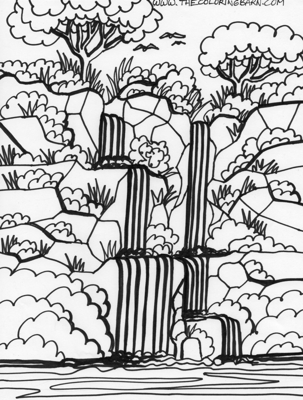 Amazon Rainforest Coloring Pages For Kids | Brazil Inspiration - Free Printable Waterfall Coloring Pages