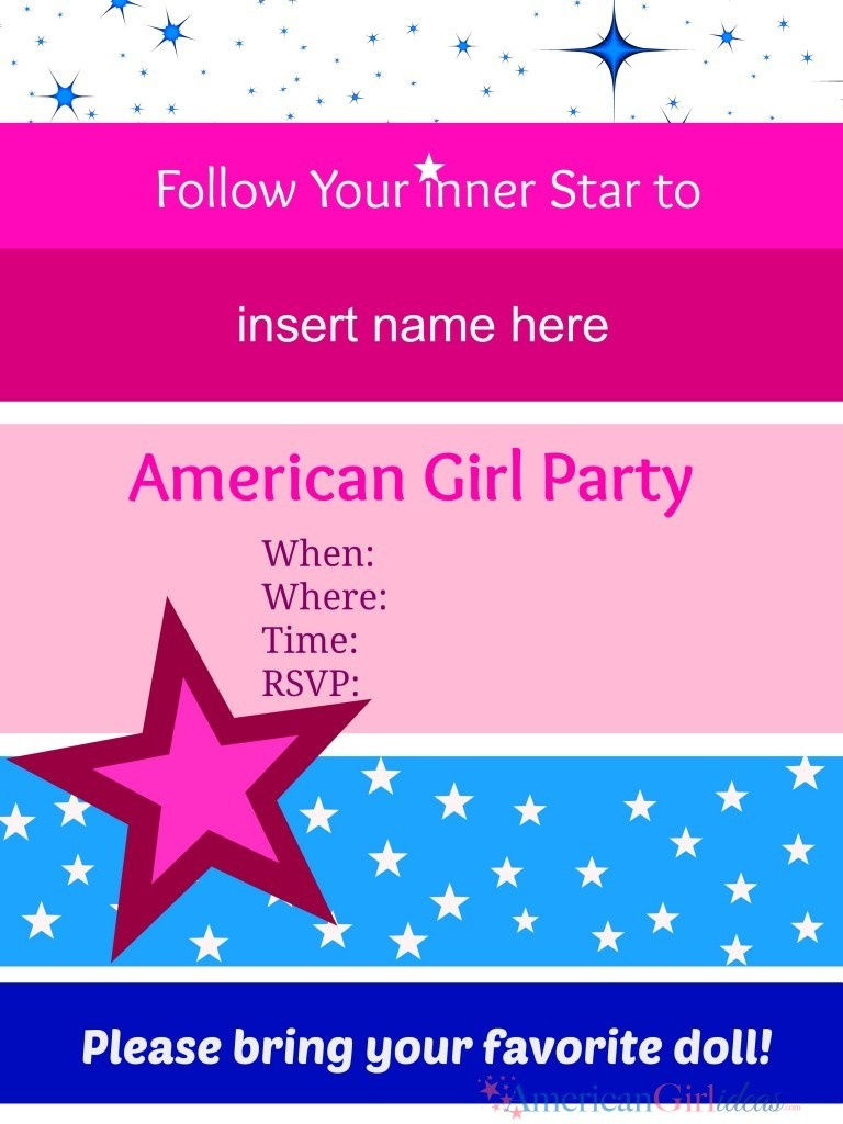 American Girl Party Invitations • American Girl Ideas | American - American Girl Party Invitations Free Printable