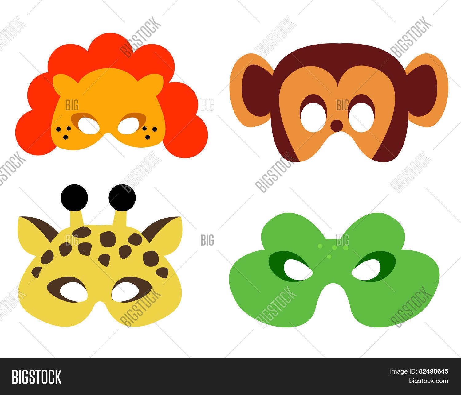 Animal Mask Printable Image & Photo (Free Trial) | Bigstock - Animal Face Masks Printable Free