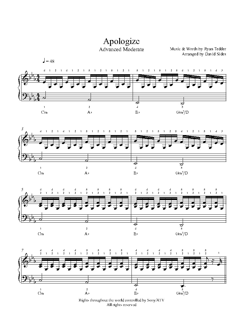 Apologizeone Republic Piano Sheet Music | Advanced Level - Apologize Piano Sheet Music Free Printable