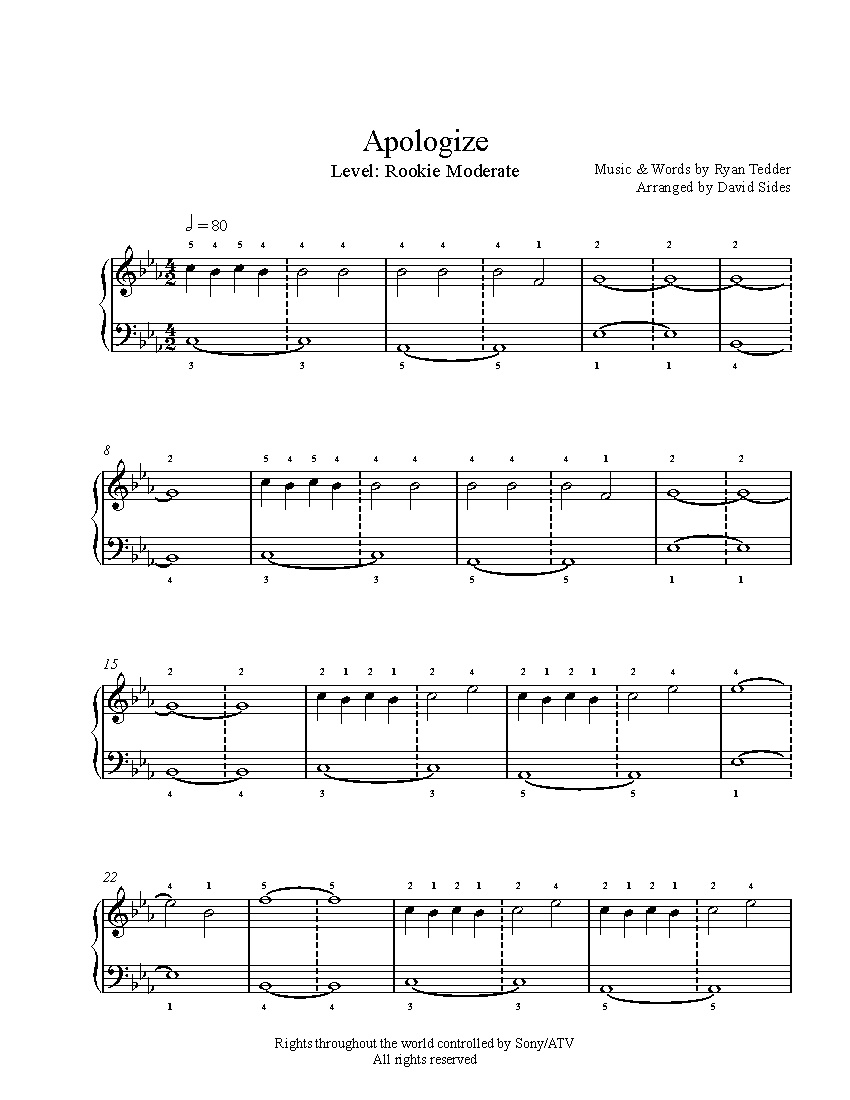 Apologizeone Republic Piano Sheet Music | Rookie Level - Apologize Piano Sheet Music Free Printable