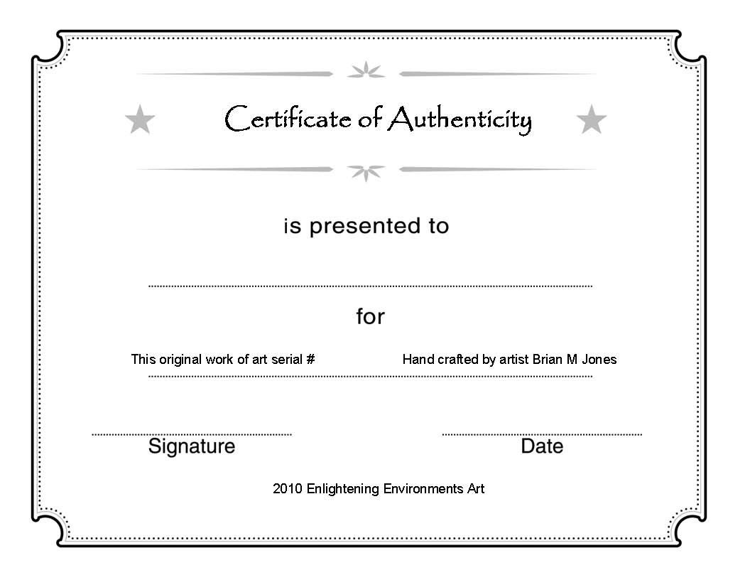 Artcertificate1 | Kk Certificate Of Authenticity | Blank Certificate - Free Printable Award Certificates