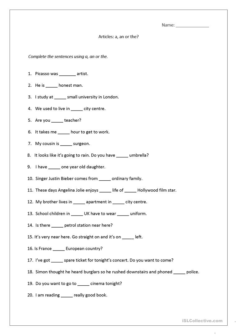 Articles Worksheet (A, An, The) Includes Answers. Worksheet - Free - Free Printable Grammar Worksheets For Highschool Students