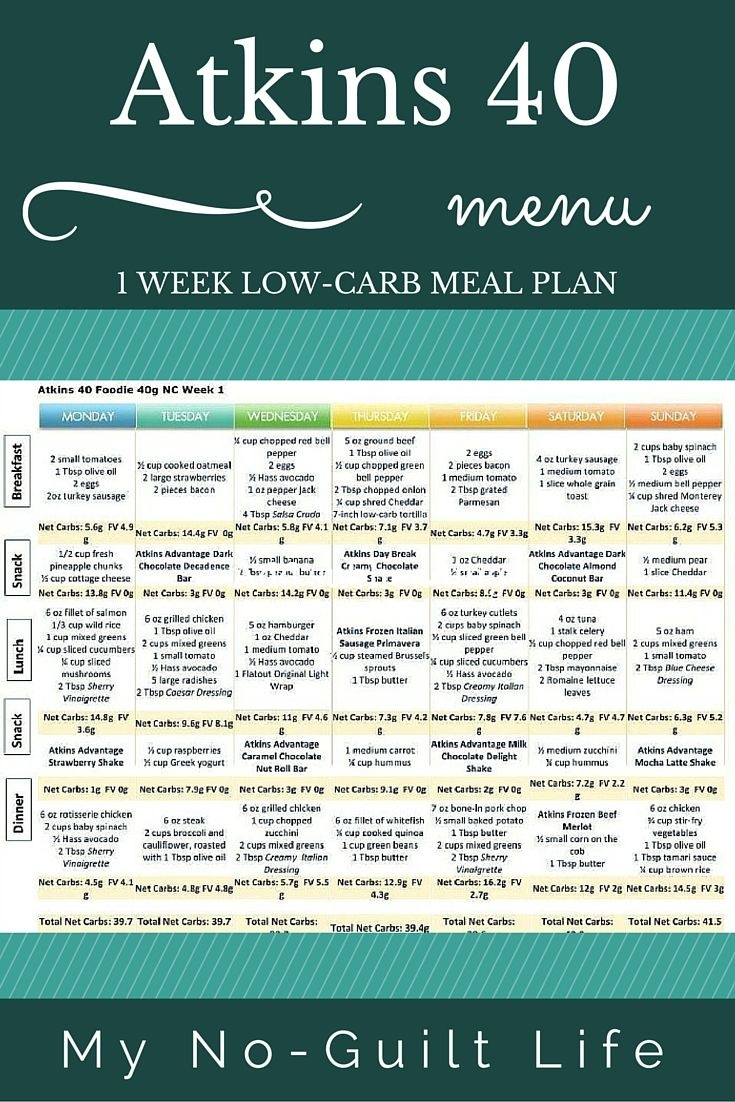 Atkins 40 | Lose Weight | Atkins 40 Meal Plan, Atkins Diet, No Carb - Free Printable Low Carb Diet Plans