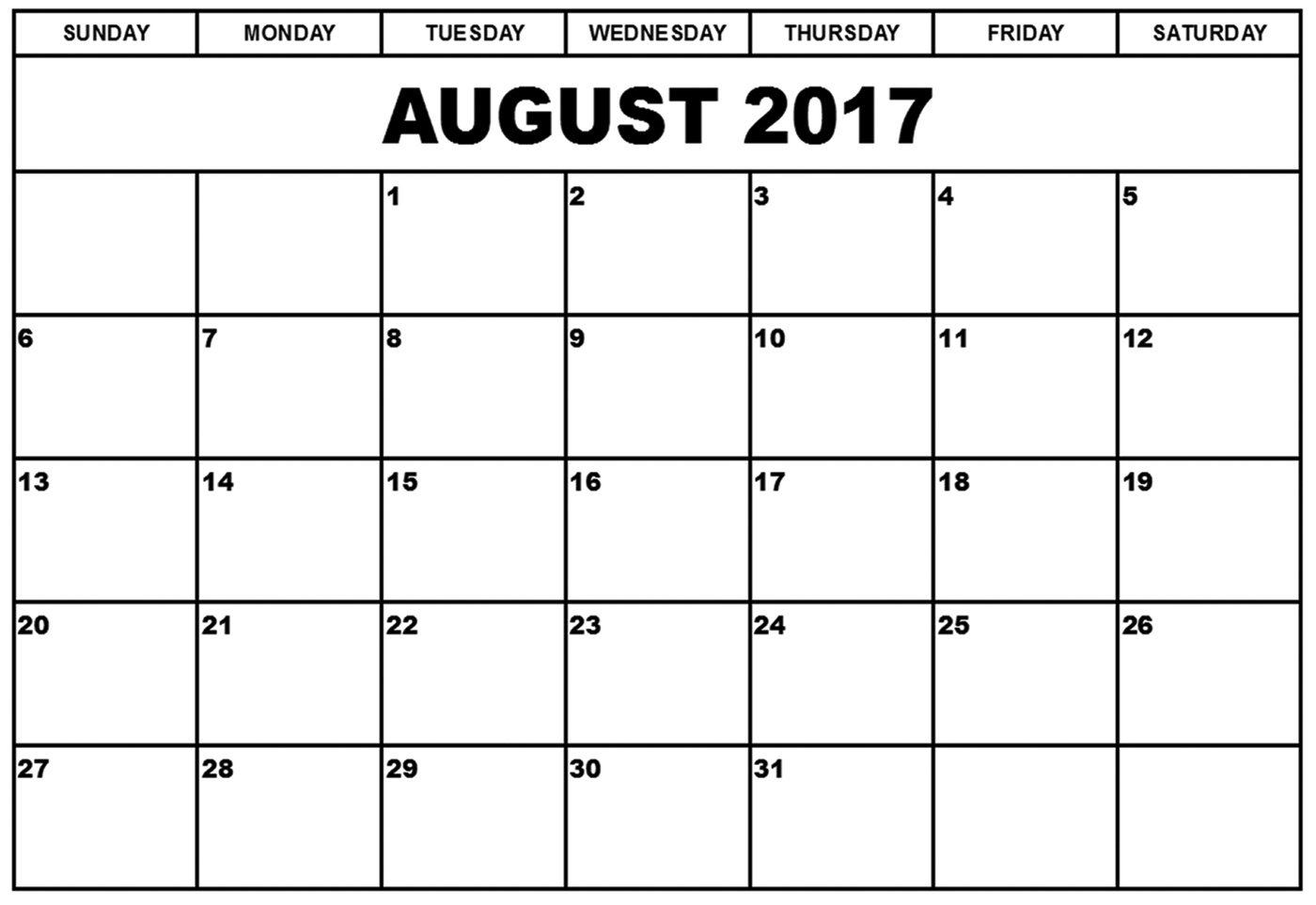August 2017 Calendar - Printable Monthly Calendar #august2017 #calendar - Free Printable August 2017
