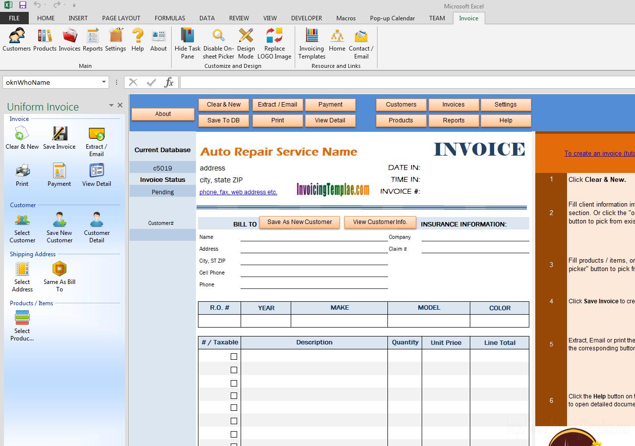 Auto Repair Invoice Template - Free Printable Auto Repair Invoice Template